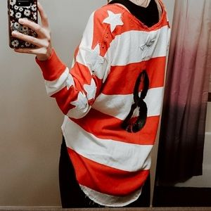 Free People Embroidered Jersey Stars & StripesTee